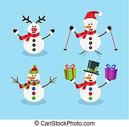 vecteur, noël, ensemble, bonhomme de neige, dessin animé, caractères