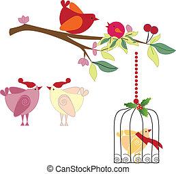 vecteur, noël, oiseaux