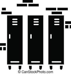 vecteur, noir, école, glyph, cupboards., symbole, closets., stockage, gymnase, casiers, métal, silhouette, space., blanc, compartments., icon., isolé, belongings., collège, illustration, personnel, université, garder