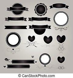vecteur, noir, bannière