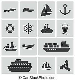 vecteur, noir, bateau, et, bateau, icônes, ensemble