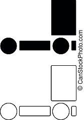 vecteur, noir, camion, icône, illustration, contour