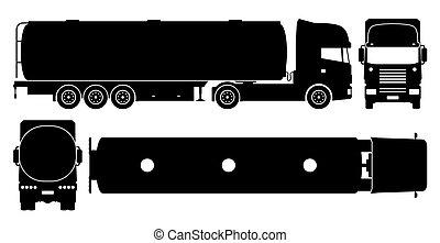 vecteur, noir, camion navire-citerne, illustration, icônes