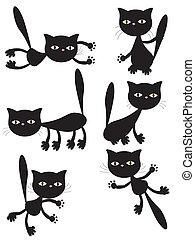 vecteur, noir, cats.