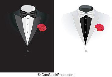 vecteur, noir, costume