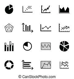 vecteur, noir, diagramme, ensemble, icônes