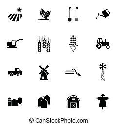 vecteur, noir, ensemble, agriculture, icônes