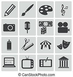 vecteur, noir, ensemble, art, icônes