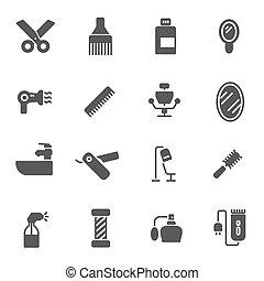vecteur, noir, ensemble, coiffeur, icônes