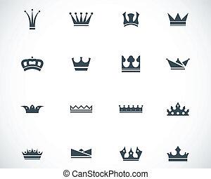 vecteur, noir, ensemble, couronne, icônes
