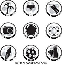 vecteur, noir, ensemble, eps10, icons.
