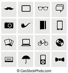 vecteur, noir, ensemble, hipster, icônes
