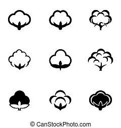 vecteur, noir, ensemble, icône, coton