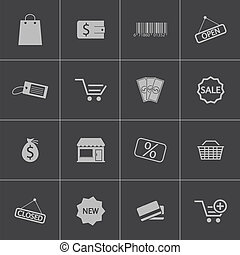 vecteur, noir, ensemble, icônes, magasin