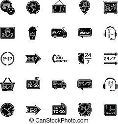 vecteur, noir, glyph, 24, symbols., helpline, 7, ouvert, fonctionnement, silhouette, autour de, space., blanc, commodité, shop., heure, store., hrs, ensemble, service, horloge, icônes, helpdesk., isolé, heures, illustration