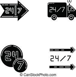 vecteur, noir, glyph, jour, 24, symbols., 7, ouvert, silhouette, autour de, space., blanc, commodité, shop., heure, truck., store., hrs, ensemble, livraison, tout, disponible, service, horloge, icônes, isolé, illustration