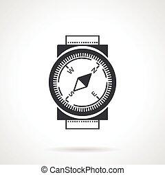 vecteur, noir, icône, compas