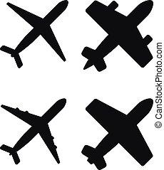 vecteur, noir, illustration, avions