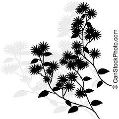vecteur, noir, illustration, pousse feuilles, branche