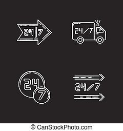 vecteur, noir, jour, 24, 7, ouvert, autour de, commodité, blanc, shop., craie, heure, truck., store., hrs, ensemble, tout, arrière-plan., livraison, disponible, illustrations, tableau, service, horloge, icônes, isolé