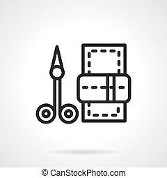 vecteur, noir, manucure, ciseaux, ligne, icône