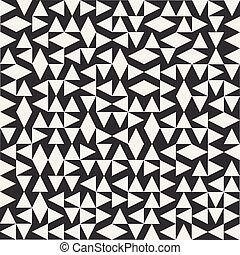 vecteur, noir, modèle, géométrique, blanc, aléatoire, seamless, ethnique, triangles