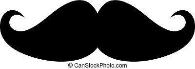 vecteur, noir, moustache, icône