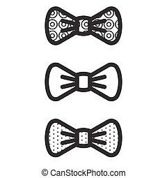 vecteur, noir, nœud papillon, icons.