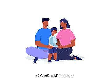 vecteur, noir, plat, maman, family., papa, illustration., son.
