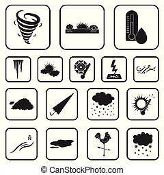 vecteur, noir, signes, illustration., temps, ensemble, toile...