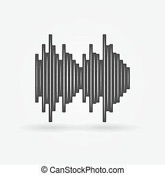 vecteur, noir, soundwave, icône