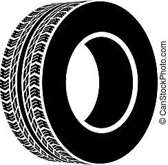 vecteur, noir, terrain, pneu, symbole