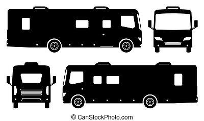 vecteur, noir, véhicule, illustration, icônes, récréatif