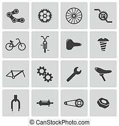 vecteur, noir, vélo, partie, icônes, ensemble