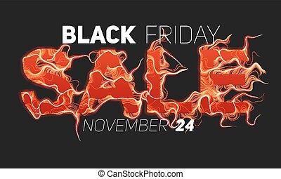 vecteur, noir, vendredi, vente, texte, à, rouges, brûler, flammes, arrière-plan., ondulé, fils, depuis, rouges, letters., chaud, noir, vendredi, vente, illustration, pour, prospectus, cartes, promo, matériels, etc., mince, bouclé, flames., eps10