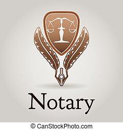 vecteur, notary, gabarit, logo, légal, organization.