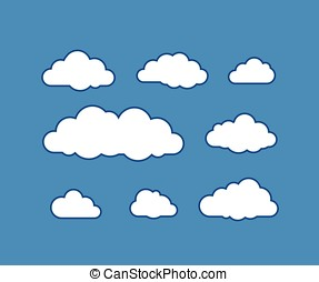 vecteur, nuage, illustration, icônes