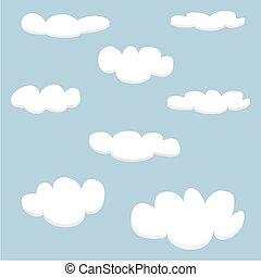 vecteur, nuages blancs, sur, ciel bleu