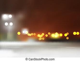 vecteur, nuit, cityscape
