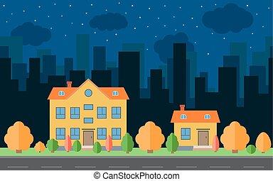 vecteur, nuit, ville, à, deux, dessin animé, maisons, et, bâtiments, à, arbres, et, shrubs.