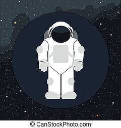 vecteur, numérique, astronaute, icône, espace