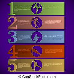 vecteur, numéroté, lignes, à, fitness, silhouettes