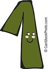 vecteur, number-1, rigolote, dessin animé, sourire, ou, couleur, illustration