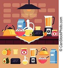 vecteur, nutrition, éléments, objets, plat, nourriture, set., sain, illustration, matin, dîner déjeuner, graphisme, petit déjeuner, concept., dessin animé, icône