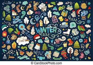 vecteur, objets, doodles, main, coloré, dessiné, dessin animé, ensemble, hiver