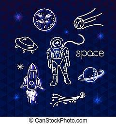 vecteur, objets, espace