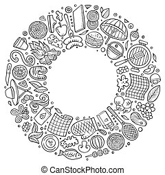 vecteur, objets, griffonnage, main, ligne, dessiné, dessin ...