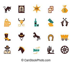 vecteur, occidental, plat, ensemble, icônes, grand