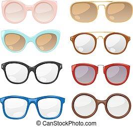 vecteur, oeil, humain, lunettes