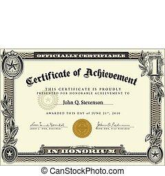 vecteur, officiel, certificat, gabarit